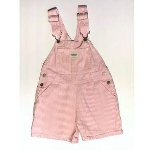 OshKosh Girls Pink White Striped Overalls Shorts 4